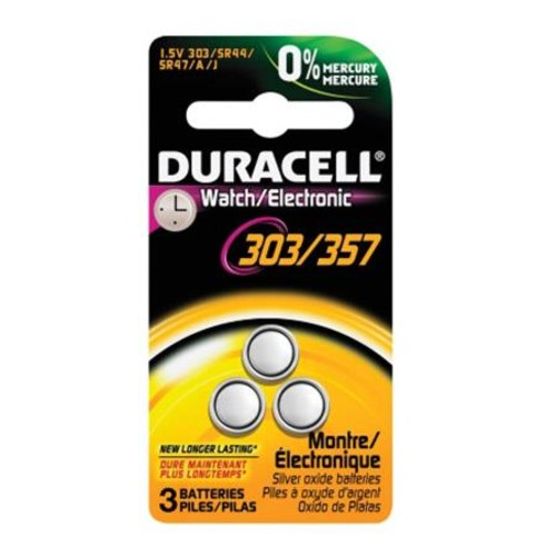 Duracell D303/357 Watch/Electronic Silver Oxide Battery, 1.5 Volt (3-pack)