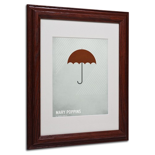 Marry Poppins Artwork by Christian Jackson in Wood Frame, 11 by 14-Inch [11 by 14-Inch]