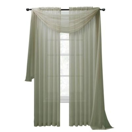Window Elements Diamond Sheer Voile 56 in. W x 216 in. L Curtain Scarf in Sage
