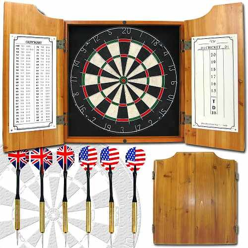 ADG Solid Wood Dart Cabinet with Dartboard and Darts