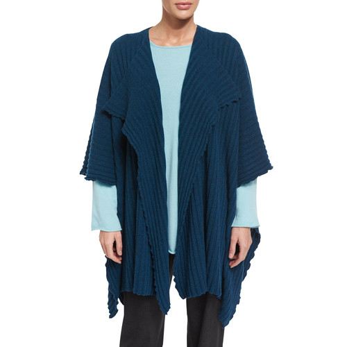 ESKANDAR Cashmere Sweater Cape Jacket, Fairisle