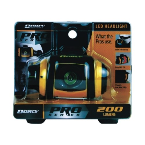 Dorcy Pro Series 200 lumens Headlight LED AA Black & Yellow(41-2612)