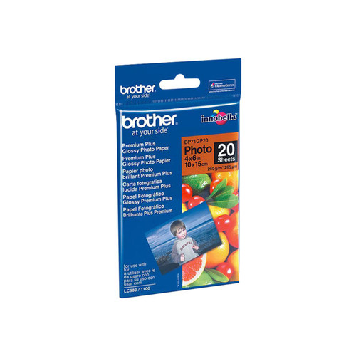 Brother Glossy Inkjet Paper, 4 x 6 Inches, 20 Sheets (BP71GP20) - Retail Packaging