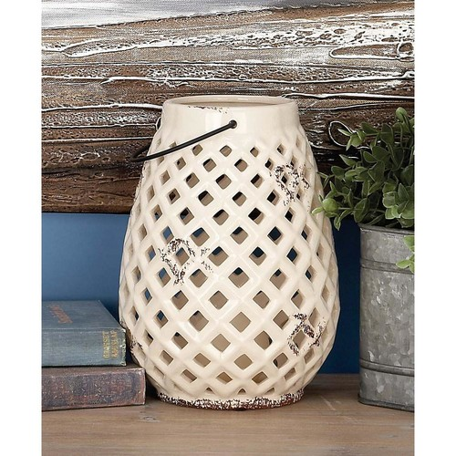 10 in. Traditional Ceramic Woven Net Candle Lanterns (Set of 3)