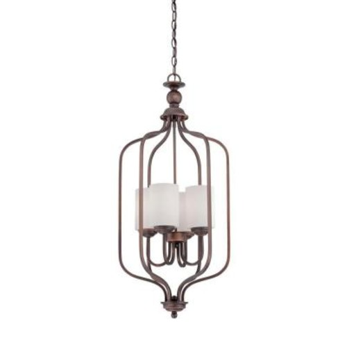 Millennium Lighting 4-Light Rubbed Bronze Pendant with Etched White Glass