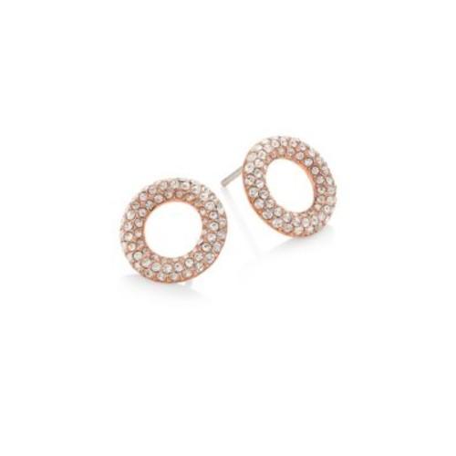 Brilliance Pav Crystal Stud Earrings/Rose Goldtone