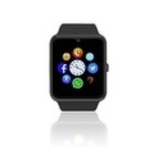 Indigi (Black) GT8 Unlocked 2-in-1 SmartWatch & Phone - Bluetooth Sync w/ Pedometer + Built-in Camera + SIM Slot - Black