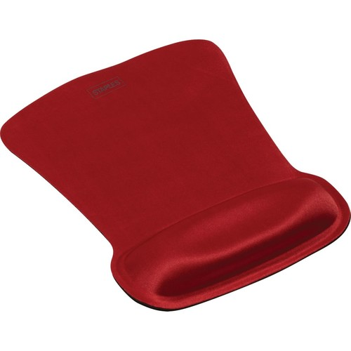 Staples Gel Mouse Pad with Wrist Rest; Gel, Red