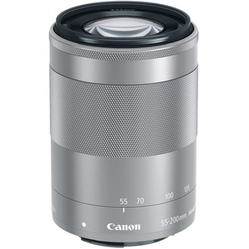 Canon EF-M 55-200mm f/4.5-6.3 IS STM Lens - Silver with Free Accessory Bundle 1122C002 A