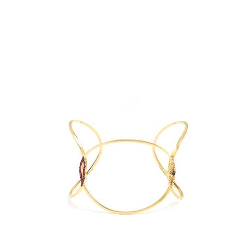 Diamond, ruby, sapphire & yellow-gold cuff