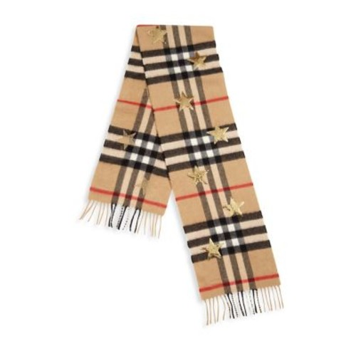 BURBERRY Plaid & Sequined Star Cashmere Scarf