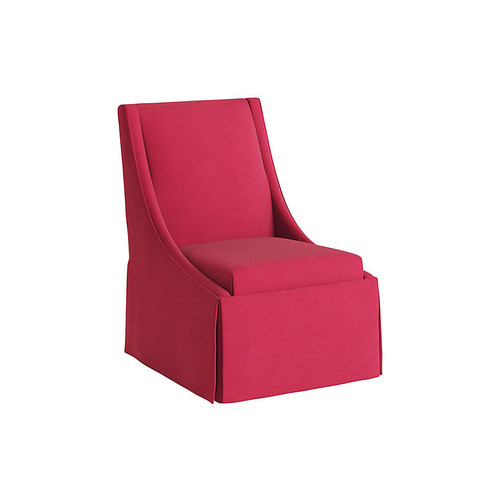 Jody Skirted Side Chair, Fuchsia Linen