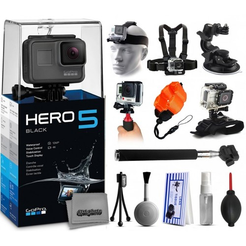 GoPro HERO5 Black + Head/Chest/Wrist Strap + Selfie Stick + Stabilizer