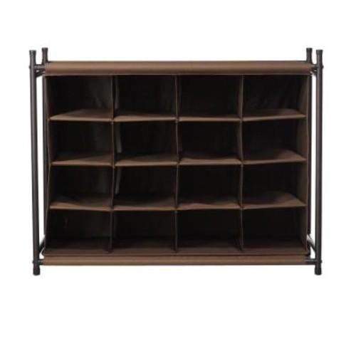 Home Decorators Collection 16-Compartment Shoe Organizer in Brown