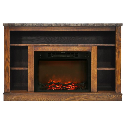 Cambridge 47 in. Electric Fireplace with Multi-Color LED Insert and Stand, Walnut