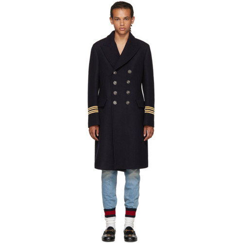 GUCCI Navy Wool 'Hollywood' Coat