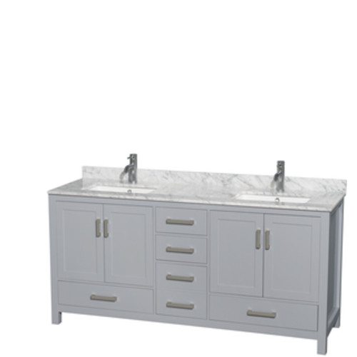 Wyndham Collection Sheffield 72-inch Gray Double Vanity, Undermount Square Sinks, 24-inch Mirrors [option : White Carrera Marble Top]