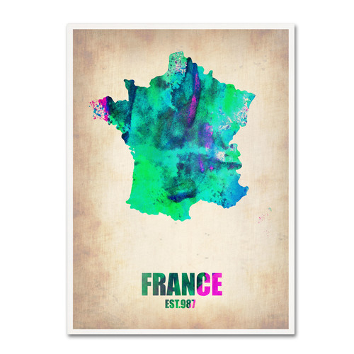 Trademark Global Naxart 'France Watercolor Map' Canvas Art [Overall Dimensions : 18x24]