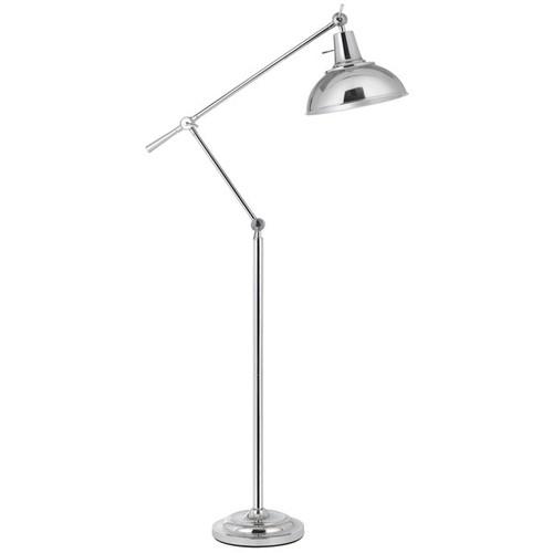 100W Eupen metal adjustable floor lamp with metal shade in chrome