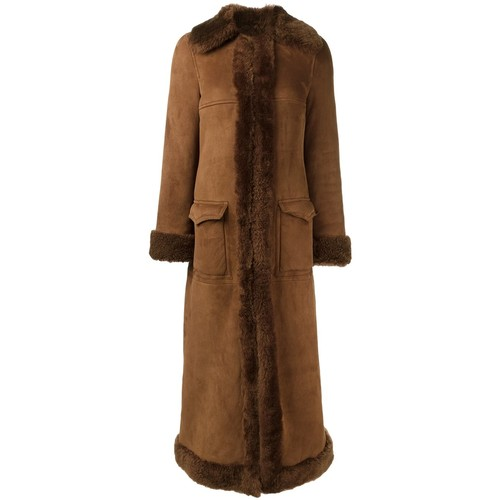SAINT LAURENT Shearling Lined Long Coat