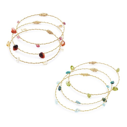 Reclaimed Guitar String Gemstone Bangles [Turquoise Set]