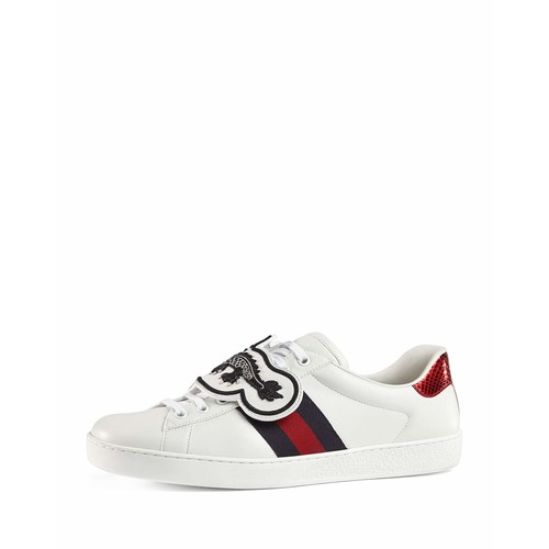 GUCCI Ace Leather Low-Top Sneaker With Removable Embroideries, White
