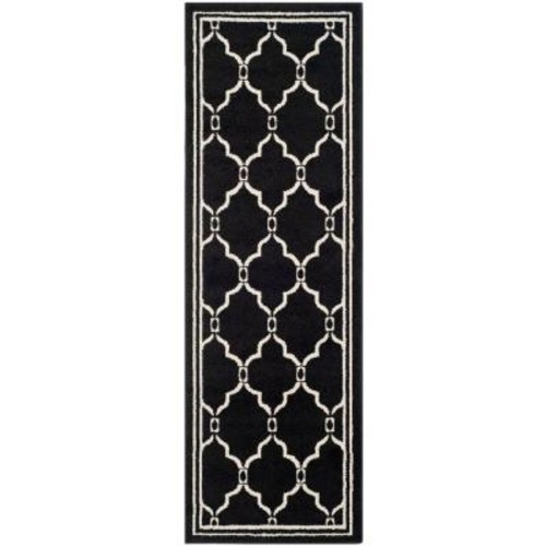 Safavieh Amherst Anthracite/Ivory 2 ft. x 7 ft. Indoor/Outdoor Runner Rug