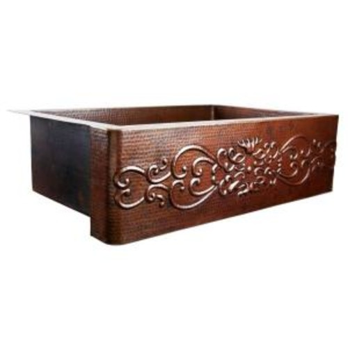 SINKOLOGY Pauling Farmhouse Apron Front Handmade Pure Copper 36 in. Single Bowl Kitchen Sink with Scroll Design
