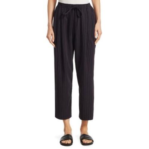 Striped Drawstring Cropped Pants