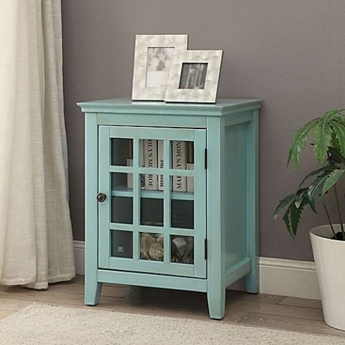 Linon Home Decor Largo Accent Cabinet in Turquoise