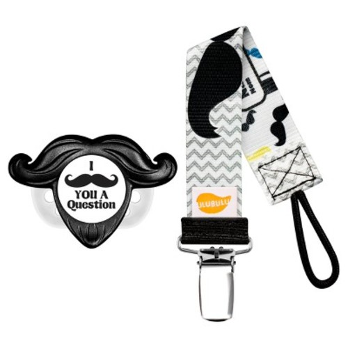 Ulubulu 1 pk Mustache Pacifier with Mustache Pacifier Clip
