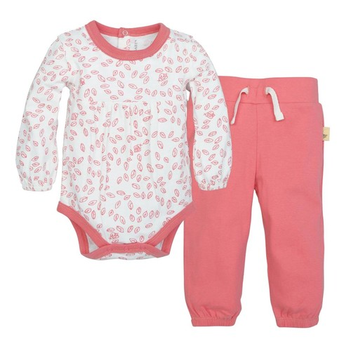 Burt's Bees Baby 2 Piece White/Pink Printed Organic Bodysuit with Pink Pant Set