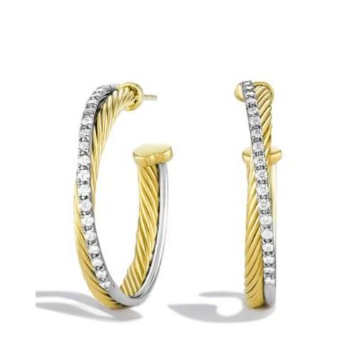 Crossover Medium Hoop Earrings with Diamonds in G