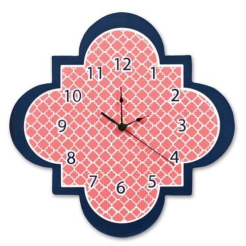 Trend Lab Quatrefoil Wall Clock in Coral