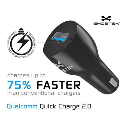Ghostek Quickcharge 2.0 NRGCharge Car Charger with MicroUSB Cable, Black GHONRG001