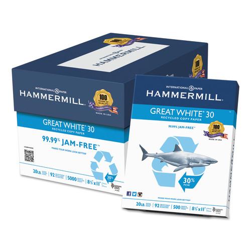 Hammermill HAM86700 Great White Recycled Copy Paper, 92 Brightness, 20lb, 8-1/2 x 11, 5000 Shts/Ctn