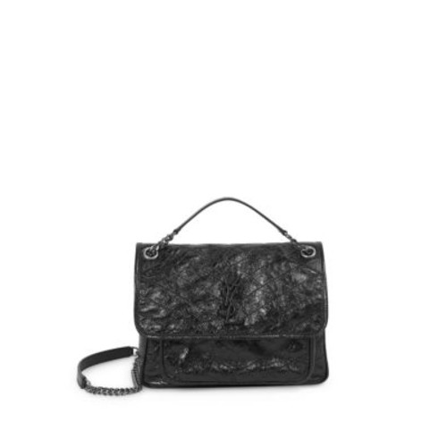 Medium Niki Crinkle Leather Nickel Hardware Flap Bag