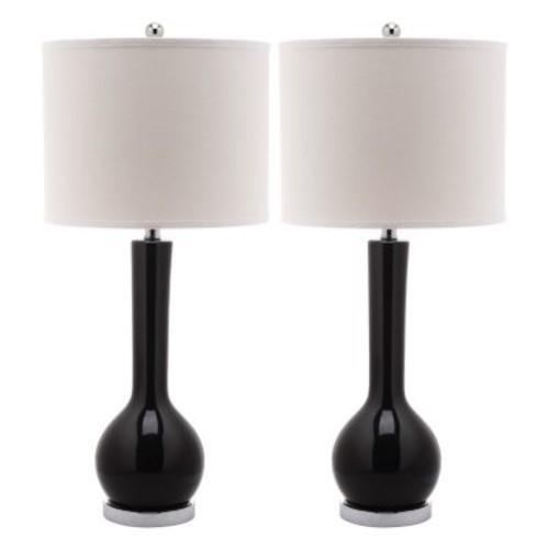 Mae Long Neck Ceramic 1-light Black Table Lamps (Set of 2)