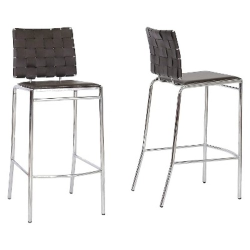 Vittoria Leather Modern Bar Stool - Brown (Set of 2) - Baxton Studio