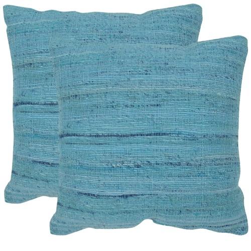 Safavieh Eloise Brilliant Blue 20-inch Square Throw Pillows (Set of 2)