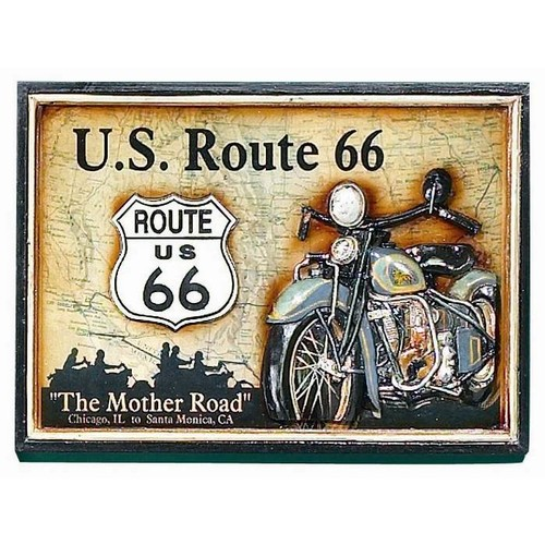 Framed Pub Sign For Route 66 Has Three-Dimensional Motorcycle
