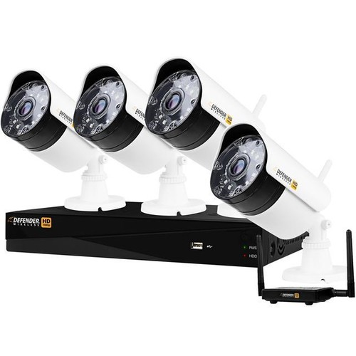 Defender Wireless HD 1080p 4 Channel 1TB DVR Security System with Smart Adaptive Wireless Technology & 4 Bullet Cameras