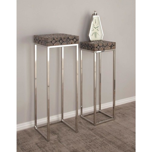 42 in. and 37 in. Stainless Steel and Wood Pedestals (2-Pack)