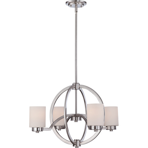 Quoizel Celestial Brushed Nickel and Opal Glass 4-light Chandelier