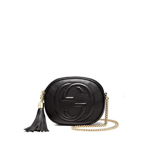 GUCCI Soho Leather Mini Chain Bag, Black