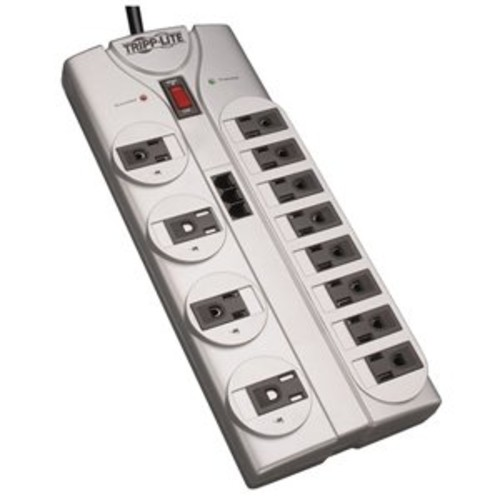 Tripp Lite 12 Outlet Surge Protector Power Strip, 8ft Cord, Right-Angle Plug, Tel/Modem Protection, RJ11, $150,000 INSURANCE (TLP1208TEL)