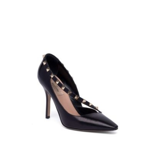 Rockstud d'Orsay Leather Point Toe Pumps