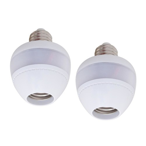 eSenLite LED CFL Bulb Lamp Sockets of Motion Activated Radar Sensor Dusk to Dawn Dimmable for most Light Fixtures (2-Pack)