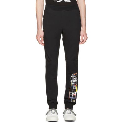 VERSACE Black Graphic Logo Lounge Pants