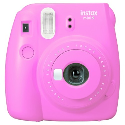 instax mini 9 Instant Film Camera with Rainbow Instant Film Kit (Flamingo Pink, 10 Exposures)